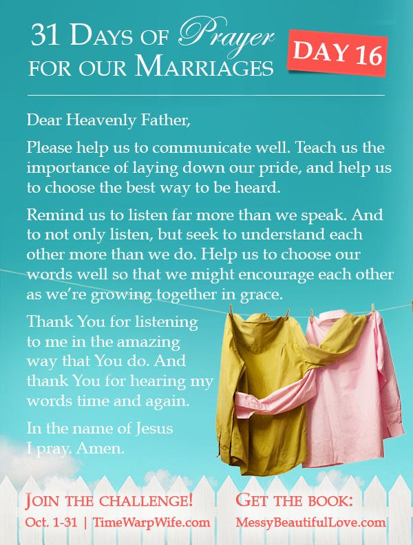 Day 16 - 31 Days of Prayer for Our Marriages
