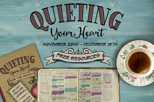 FREE RESOURCES for the upcoming Quiet Your Heart for the Holidays series. You'll LOVE the companion study guide and the scripture cards!