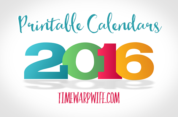 Monthly Printable Calendars for 2016