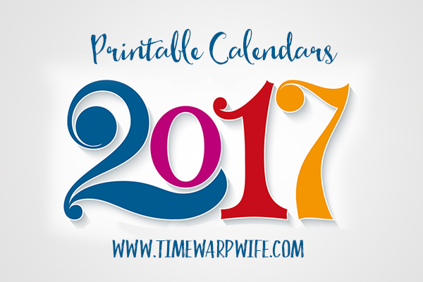 Monthly Printable Calendars for 2017