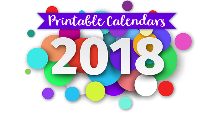 Monthly Printable Calendars for 2018
